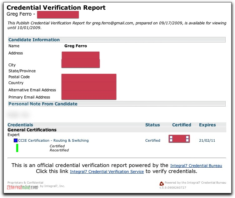Cisco Credential Verification Report - checking certification status