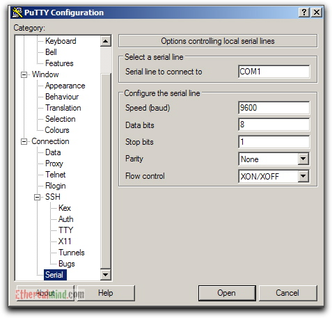 Putty Serial Console settings