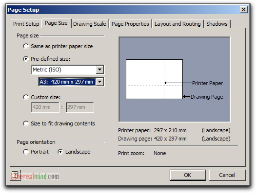 Change the drawing page or printer paper size