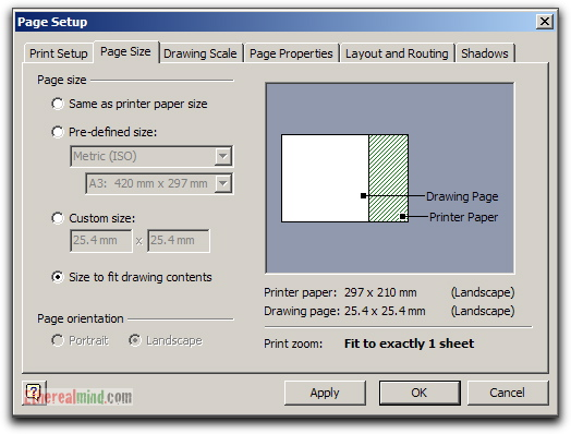 Change the page setup by using Auto Size or selecting size and orientation