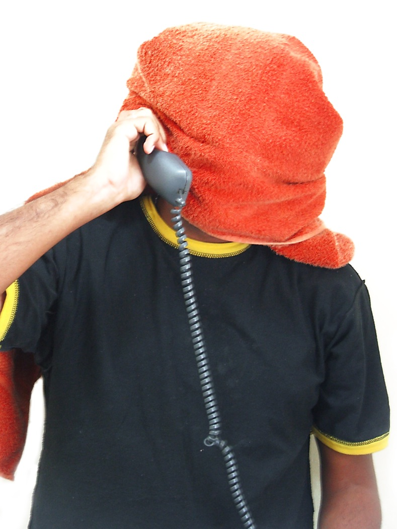 Towel Head with Phone